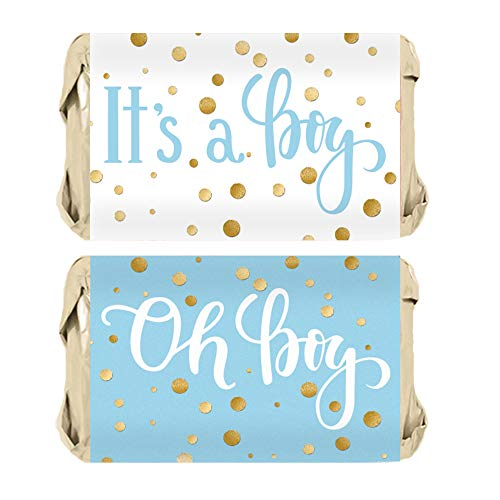 Blue and Gold It's a Boy Baby Shower Favor Miniatures Candy Bar Wrapper Stickers | 45 Count