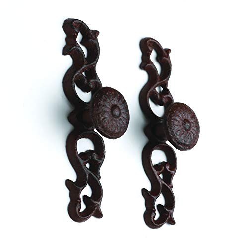 2 Pack of Fancy Cast Iron Antique Drawer Handle Door Pull Rustic Ornate Cabinet and Drawer Hardware CI158