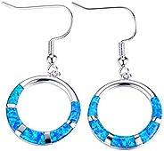Fire Opal Hook Earrings White/Blue Gemstone 925 Sterling Silver Circles Dangle Earrings Jewelry Platinum Plate