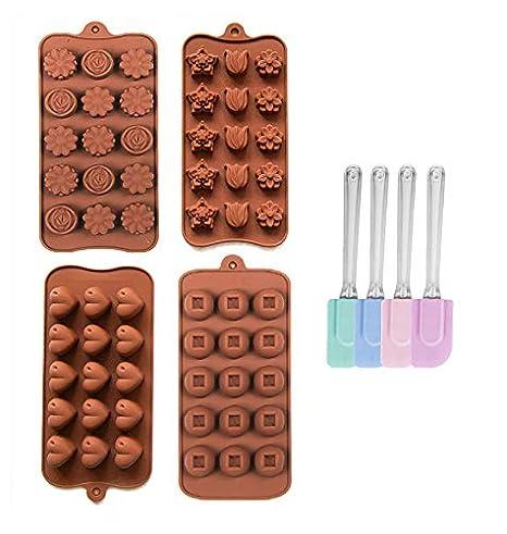 4x Silikon Backform + 1x Schaber Backform Kuchenform Pralinenform Tortenform Eiswürfel Brotform Förmchen Backformen Schokolad