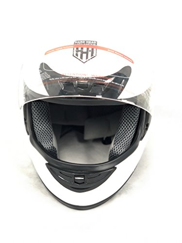 Hard Head Helmets Full Face Helmet DOT Approved for Street Bike, Motorcycle, Chopper, UTV, ATV, Dirtbike & Go-kart (Small, Matte White)