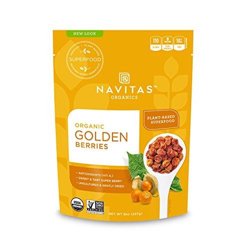 Golden Berries (Navitas Organics Goldenberries, 8 oz. Bags (Pack of 2) — Organic, Non-GMO, Sun-Dried, Sulfite-Free)