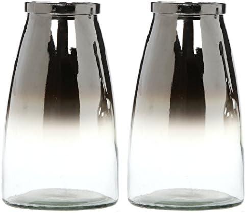 Hosley Set of 2 Silver Glass Flower Vase 10.25 Inch High. Ideal Gift for Weddings Bridal Spa Meditation Reiki Rose Vase Nautical Settings Storage P1