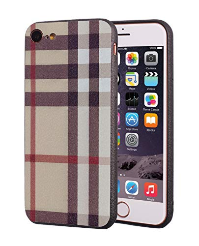 iPhone 7 Case,iPhone 8 Case,Retro Plaid Stripes Design Slim Anti-Scratch Shockproof TPU Rubber Protective Cover for Apple iPhone 7/iPhone 8 4.7 inch - Khaki Plaid