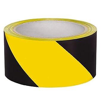 Floor Marking Tape/Yellow/Black Zebra Strip, (48 mm X 30 Meters, Pack of 2)