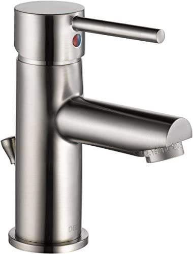 Delta Faucet Modern Single Hole Bathroom Faucet Brushed Nickel, Single Handle Bathroom Faucet, Drain Assembly, Stainless 559LF-SSPP