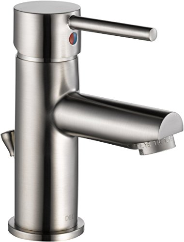 Lever Toilet Nickel Brushed (Delta Modern Single-Handle Bathroom Faucet with Drain Assembly, Stainless 559LF-SSPP)