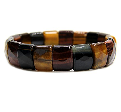 Amandastone A Grade Multicolor Tiger Eye Genuine Semi Precious Gemstone 15mm Square Grain Faceted Beaded Stretchable Bracelet 7