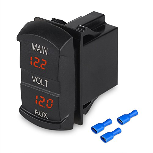 WATERWICH 12V 24V Volt Meter LED Digital Display DC Voltmeter Voltage Meter with Terminals for Car Automobiles Motorcycle Truck Boat Marine (Rocker Switch Style)