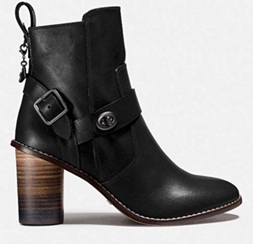 Fashion Leather Toe Closed Moto Womens Boot Black Coach Ankle Boots wtCFq0n