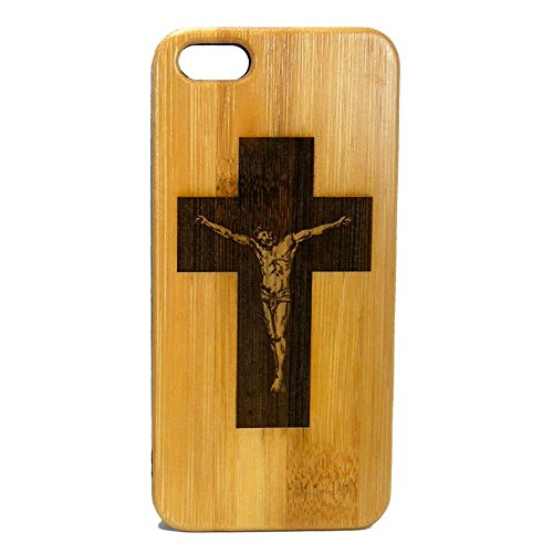 Crucifix Cross Case for iPhone 6S or iPhone 6 | iMakeTheCase Eco-Friendly Bamboo Wood Cover | Jesus Christ Christian Catholic Gift