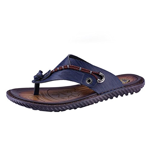 LINNUO Men's Open Toe Sandals Slip On Faux Leather Flip-Flop Athletic Thong Casual Beach Summer Slippers Blue qkXd7w