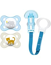 MAM Animal Design Collection Pacifier for Babies (Pack of 2 Pacifiers, 1 Clip), MAM Soother with a Soft Silicone Nipple, Baby Essentials,Designs May Vary