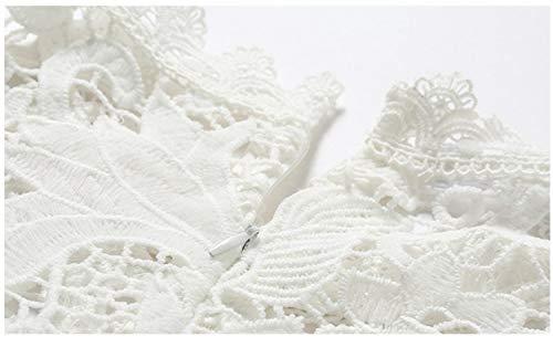 Longuette Da Donna White Pizzo Con Floreali Corta In Abiti Motivo L Size color Maglia Ofliery Patchwork Manica Abito Festa White H6qXPX