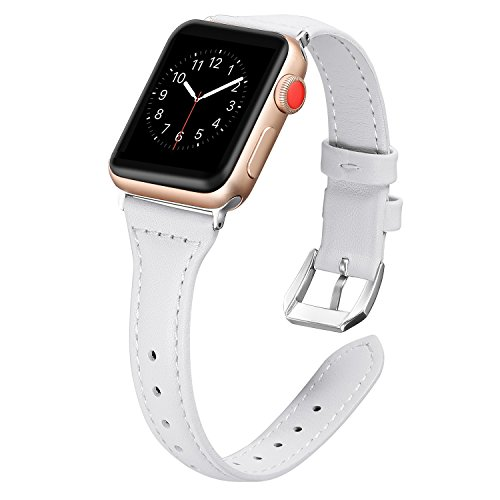 Secbolt Leather Bands Compatible Apple Watch 42mm 44mm Slim Replacement Wristband Sport Strap for Iwatch Nike+, Series 4 3 2 1, Edition, Stainless Steel Buckle