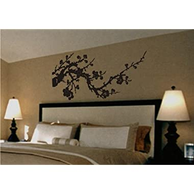 Asian Japanese Cherry Blossom Branch Vinyl Wall Art Decal