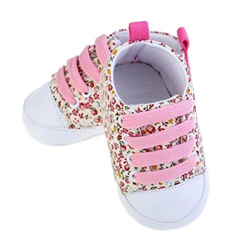 Gemini _ Mall® Baby Mädchen Kleinkind weiche Sohle Anti-Rutsch Baby Leinwand Floral Lace Up Schuhe Sneaker (12~ 18Monate, pink)