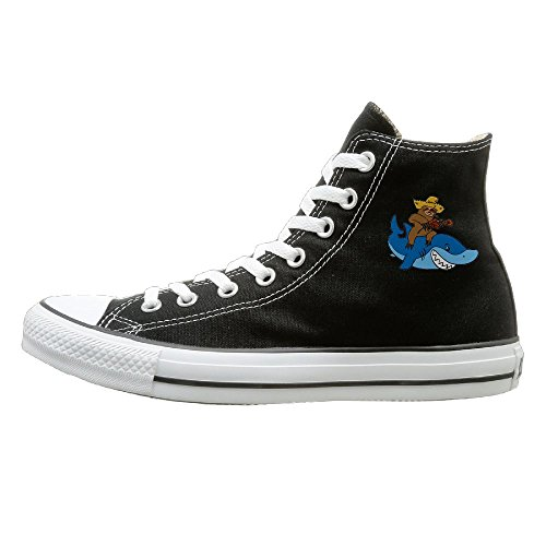 Shenigon Hick Sloth Mounted On Shark Canvas Shoes High Top Design Black Sneakers Unisex Style 42
