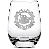 Integrity Bottles Premium Baby Yoda Stemless Wine Glass - Hand-Etched, Sand-Carved Mandalorian Drinking Glass - Best Valentines Day Gifts for Women and Men - Made in USA - 16 oz
