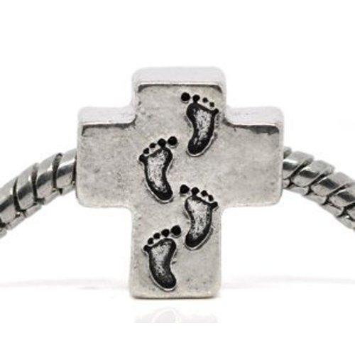SEXY SPARKLES European Foot Print Cross Charm Bead for Snake Chain Charm Bracelet