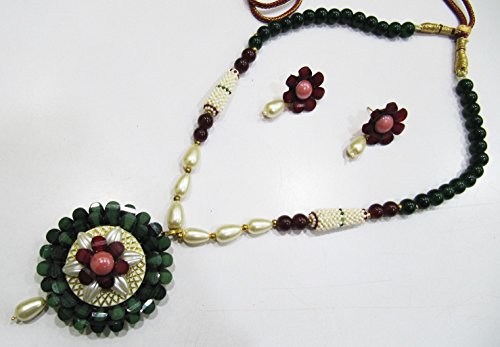 Beautiful Flower Pendant Set, Green Color Necklace and Earrings, Enameled Beads Necklace, Round Smooth Green Jade Beads, Party Wear Necklace ()