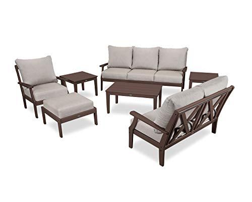 - POLYWOOD Braxton Deep Seating Set, Mahogany/Cast Ash