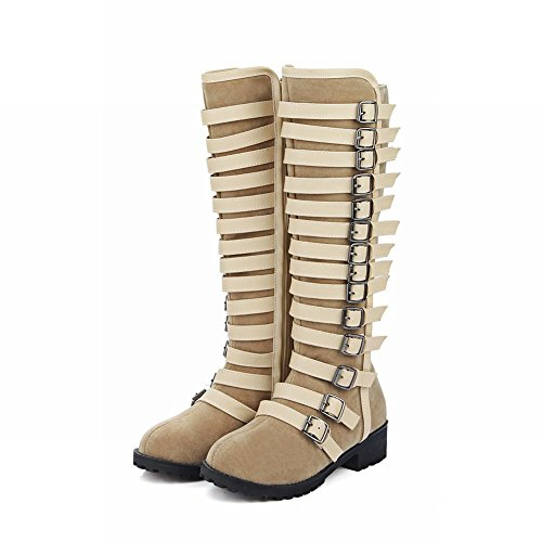 Carolbar Womens Multi Gesp Zip Hoge Lage Hak Rijden Hoge Laarzen Beige