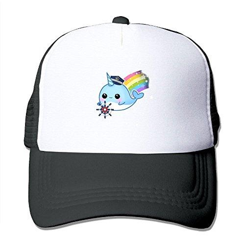 Hizhogqul Cute Kawaii Captain Narwhal with Rainbow Trucker Hat Unisex Adult Baseball Mesh Cap Black ()