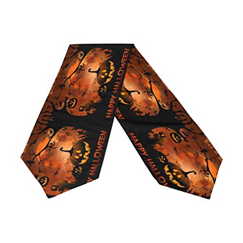 WIHVE Table Runner Halloween Night Pumpkins Moon Tablerunner for Catering Events Dinner Parties Wedding Holiday Indoor and Outdoor Decor 13 x 70 Inch (Night Table Runner)