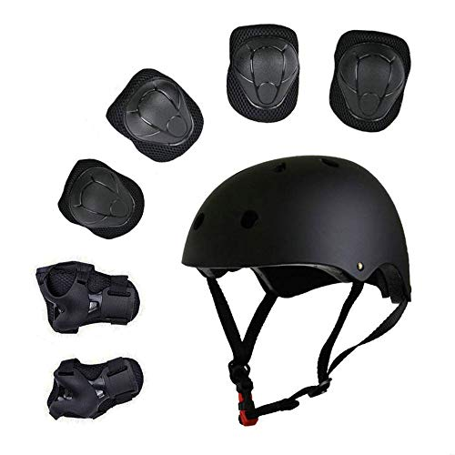 Sarik Kids Outdoor Multi-Sports Protective Gear Set Boys and Girls Helmet Knee Elbow Wrist Safety Pads for Cycling, Rollerblades, Scooter, Skateboard, Bicycle, Rollerblades(3-8 Years Old) (Black)