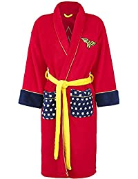 Officially Licenced Ladies DC Comics Retro Wonder Woman Red Fleece Dressing Gown