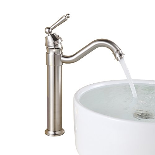 - UNILLAP Single Handle Bathroom Vessel Sink Faucet Brushed Nickel with 360° Swivel Spout