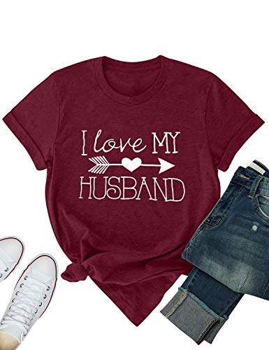 ZJP Women I Love My Husband Letter T-Shirt Graphic Print T Shirt Casual Tee Tops Wine Red (I Knit Tshirt)