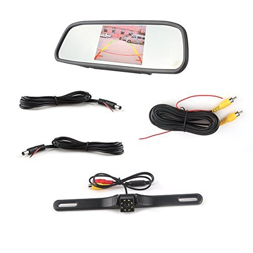 Waterproof Backup Camera and Monitor kit,4.3 inch Backup Camera & Rear View Monitor Reversing Parking Mirror Reverse System + LED Night Vision Cam,Tft-lcd Rearview Parking Monitor Assembly