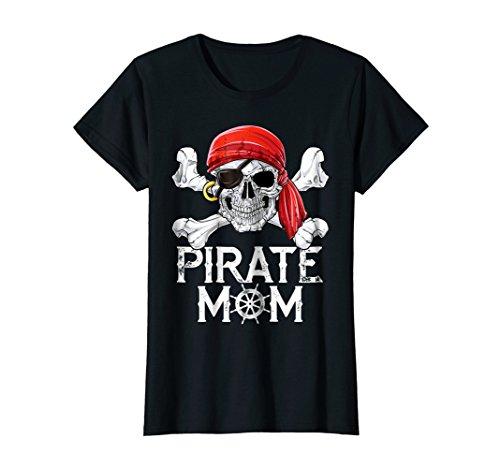 Womens Pirate Mom T shirt Jolly Roger Skull & Crossbones Flag Tees Large Black