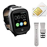 (Give SIM Card and Strap) 3G GPS Smart Watch Phone for Elderly, KKBear Real-time Tracking, Geo-Fence Touch Screen Camera SOS Alarm Anti-Lost GPS Activity Tracker Suitable for Dementia/Alzheimer's