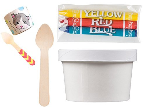 - Party Ice Cream Container 25 pack, Coloring Cups + Crayons Lids & tasting wooden Spoons Kit decorating set