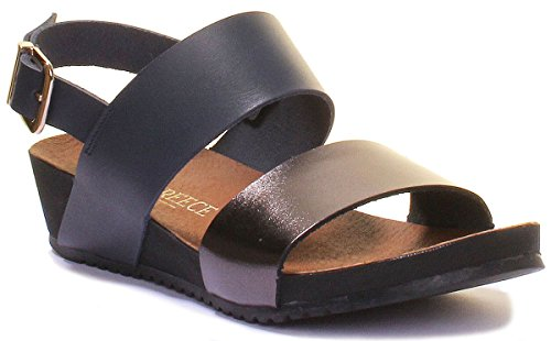 Metalic Reece Sandals Small Wedge Ladies Womens Navy All Leather Justin Buckle XHqwx7CdH