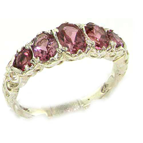 Pink Tourmaline Ring - 925 Sterling Silver Real Genuine Pink Tourmaline Womens Band Ring - Size 7