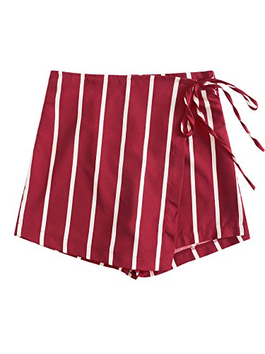 Romwe Women's Loose Fit Mid Waist Striped Print Colorblock Knot Side Shorts Red L