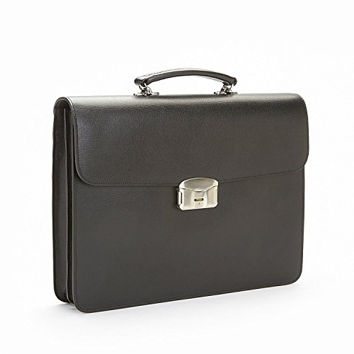 Royce Leather RFID Blocking Executive Travel Briefcase in Saffiano Leather, Black