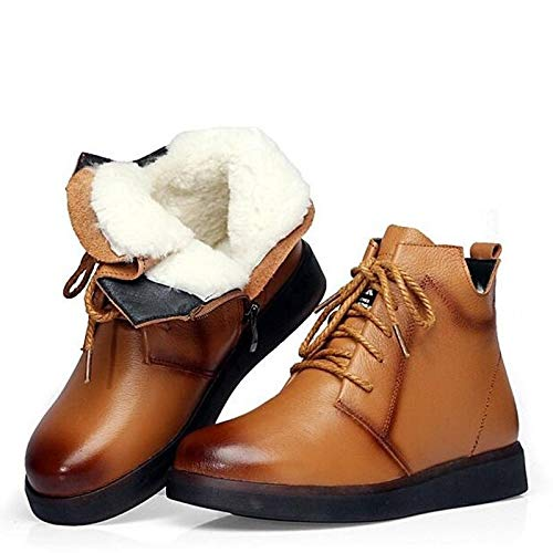 Fumak Brand Winter Boots Women Snow Boots Natural Thick Wool Warm Ankle Boots for Women Cow Leather Flats Shoes