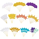 FASOTY 54 Pack Mermaid Cake Toppers Cupcake Toppers Cake Decorations for Baby Bridal Shower or Party Decoration
