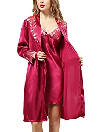 Dolamen Women's Nighties Satin Dressing Gown BathRobe Nightdress