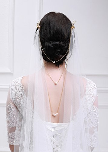 Kercisbeauty 3M Soft Tulle Sheer Cathedral Wedding Lace Veil Single Layer Drop with Gold Flower Comb Multi Layer Pearl Chain for Bride Bridal Headpiece Hair Dress (Ivory)