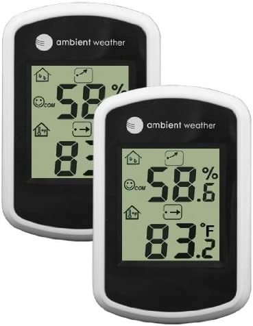 2 Pack Ambient Weather WS-03-2 Compact Indoor Temperature and Humidity Monitor