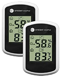 Ambient Weather WS-03-2 Compact Indoor Temperature and Humidity Monitor, 2 Pack