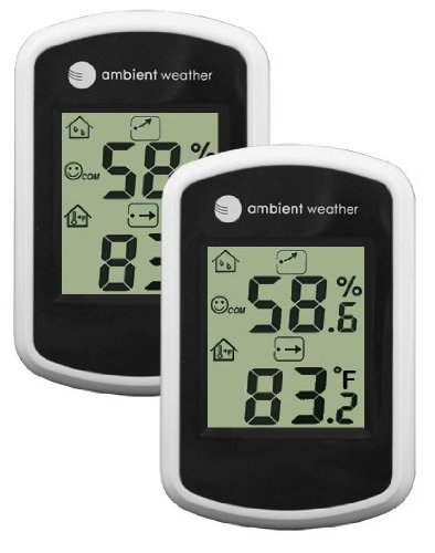 Ambient Weather WS-03-2 Compact Indoor Temperature and Humidity Monitor, 2 Pack (Weather Station Two Consoles compare prices)
