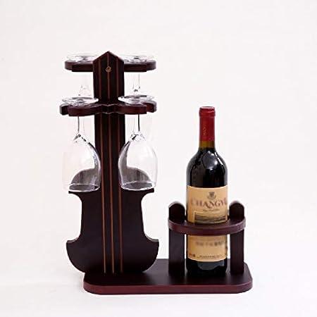 Aiglen Modelo de violín de Madera, Soporte para Botella de Vino, música Decorativa, Copa de Vidrio, Estante para Colgar, Accesorios para Manualidades de Adorno