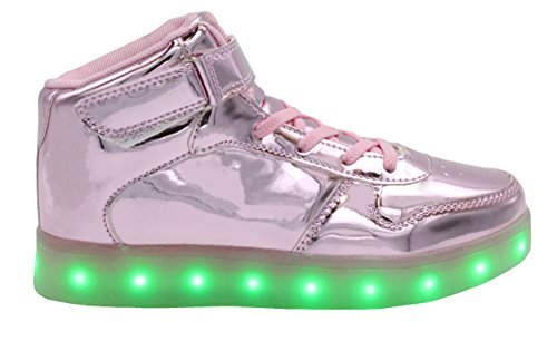 Galaxy LED Shoes Light Up USB Charging High Top Lace & Strap Men's Sneakers (Pink) 9